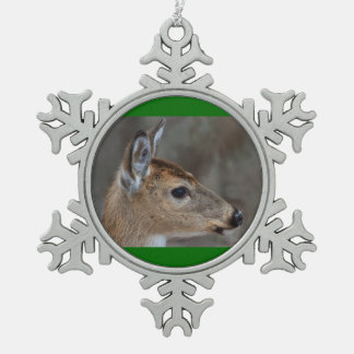 Fawn Face Pewter Snowflake Decoration