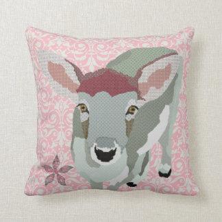 Fawn Flower Pink Damask Mojo Pillow Cushion