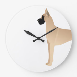 Fawn Great Dane Dog Breed Illustration Silhouette Large Clock