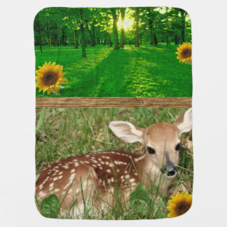 fawn green grass fleece baby blanket