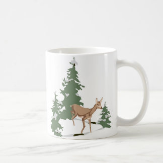 Fawn in Winter's Forest Coffee Mug