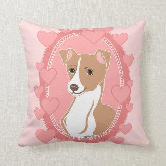 Fawn Italian Greyhound Pink Hearts Pillow