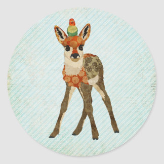Fawn & Little Bird Sticker Round Sticker