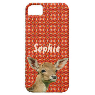 Fawn on red/orange pattern iPhone 5 covers
