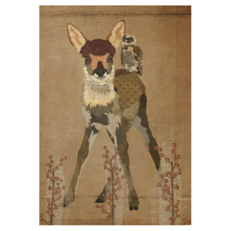 FAWN & OWL FLORAL POSTER WOOD POSTER