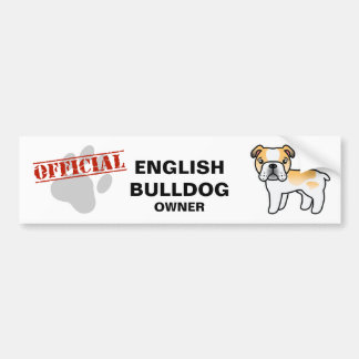 Fawn Piebald English Bulldog Cartoon Dog Bumper Sticker