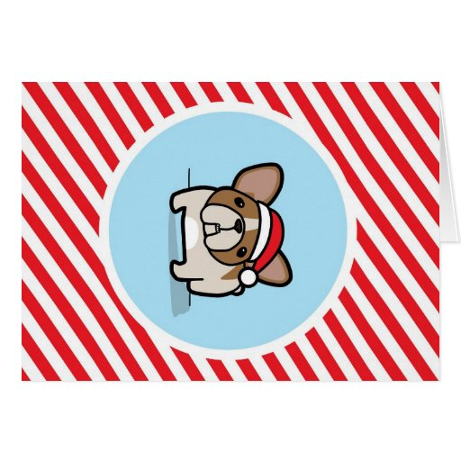 Fawn Pied Frenchie on Candy Cane Stripes Greeting Card
