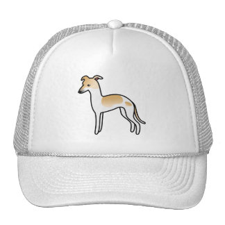 Fawn Pied Italian Greyhound Cartoon Dog Cap