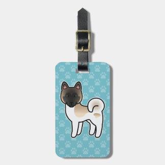 Fawn Pinto Akita Breed Dog Cartoon Illustration Luggage Tag