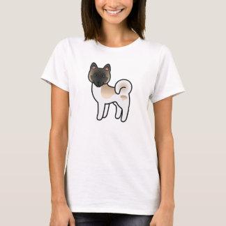 Fawn Pinto Akita Breed Dog Cartoon Illustration T-Shirt
