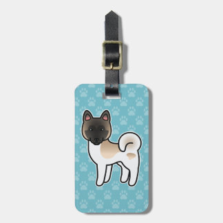 Fawn Pinto Akita Cartoon Dog Luggage Tag