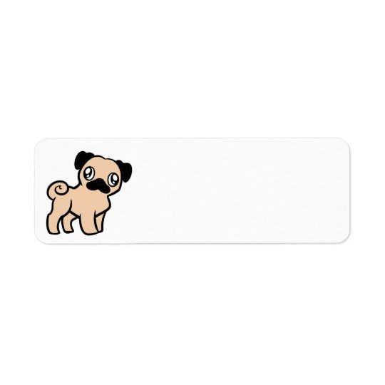 fawn pug cartoon return address label