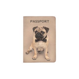 Fawn Pug Dog with Bow Tie Passport Holder