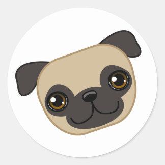 Fawn Pug Round Sticker