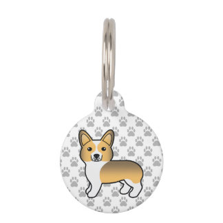 Fawn Sable Pembroke Welsh Corgi Drawing & Info Pet Name Tag