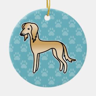 Fawn Saluki Cartoon Dog Ceramic Ornament