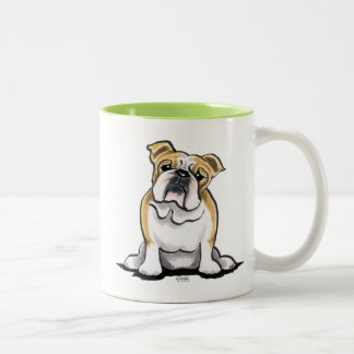 Fawn White Bulldog Sit Pretty Two-Tone Coffee Mug