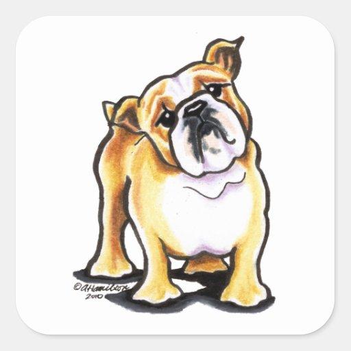 Fawn White English Bulldog Portrait Sticker