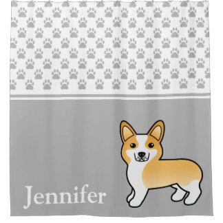 Fawn & White Welsh Corgi Cartoon Dog With Name Shower Curtain