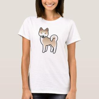 Fawn With White Mask Akita Dog Cartoon Drawing T-Shirt