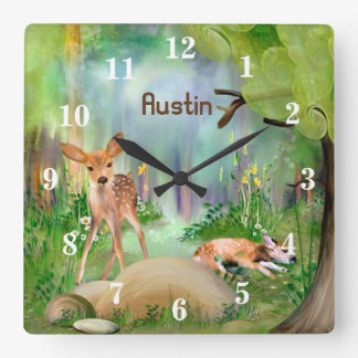 Fawns In the Woods Children's Square Wall Clock