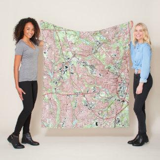Fayetteville North Carolina Map (1997) Fleece Blanket