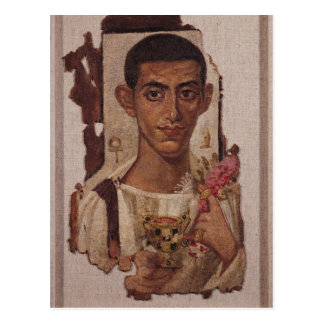 Fayum portrait of Ammonius, from Antinoe Postcard