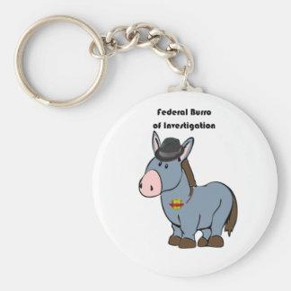 FBI Federal Burro of Investigation Donkey Cartoon Key Ring