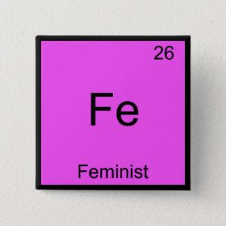 Fe - Feminist Funny Chemistry Element Symbol Tee 15 Cm Square Badge