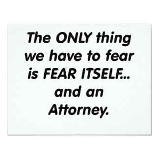 fear attorney 11 cm x 14 cm invitation card