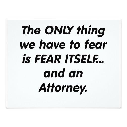 "fear attorney 4.25"" x 5.5"" invitation card"