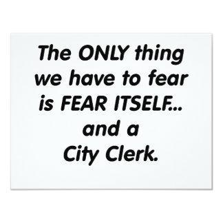 Fear city clerk 11 cm x 14 cm invitation card