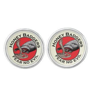 Fear No Evil Honey Badger Funny Animal Red Design Cufflinks