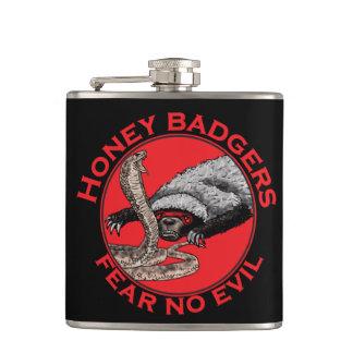 Fear No Evil Honey Badger Funny Animal Red Design Hip Flask