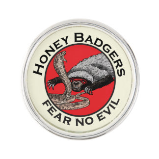 Fear No Evil Honey Badger Funny Animal Red Design Lapel Pin