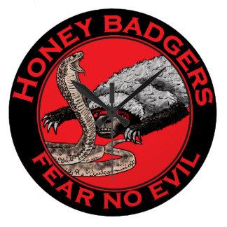 Fear No Evil Honey Badger Funny Animal Red Design Large Clock