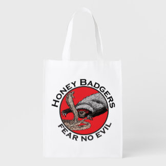 Fear No Evil Honey Badger Funny Animal Red Design Reusable Grocery Bag
