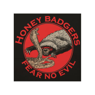 Fear No Evil Honey Badger Funny Animal Red Design Wood Wall Decor