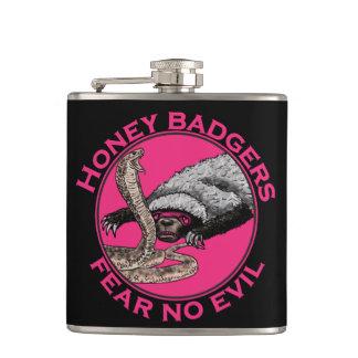 Fear No Evil Honey Badger Funny Pink Animal Design Hip Flask