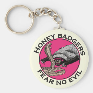 Fear No Evil Honey Badger Funny Pink Animal Design Key Ring