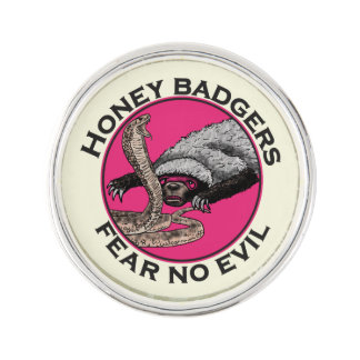 Fear No Evil Honey Badger Funny Pink Animal Design Lapel Pin