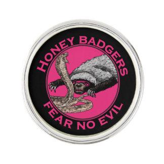 Fear No Evil Honey Badger Funny Pink Animal Design Lapel Pin