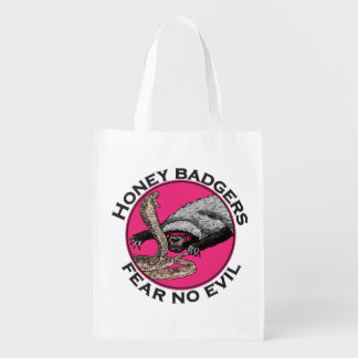 Fear No Evil Honey Badger Funny Pink Animal Design Reusable Grocery Bag