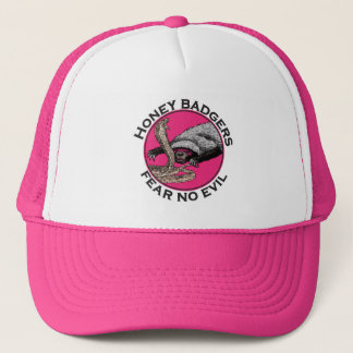 Fear No Evil Honey Badger Funny Pink Animal Design Trucker Hat