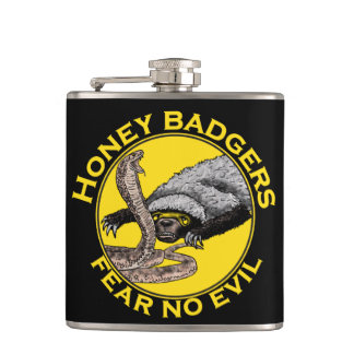 Fear No Evil Honey Badger Snake Animal Art Design Hip Flask