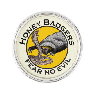 Fear No Evil Honey Badger Snake Animal Art Design Lapel Pin