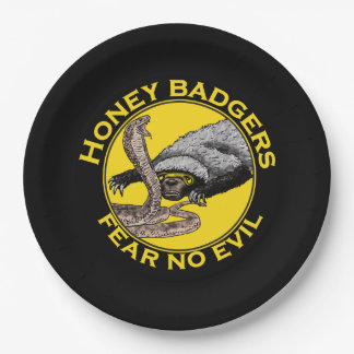 Fear No Evil Honey Badger Snake Animal Art Design Paper Plate