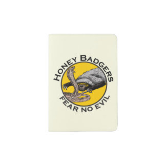 Fear No Evil Honey Badger Snake Animal Art Design Passport Holder