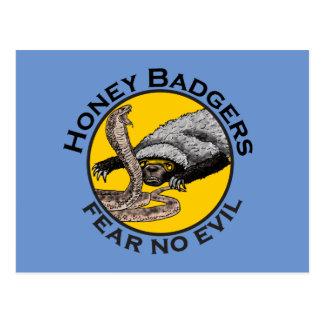 Fear No Evil Honey Badger Snake Animal Art Design Postcard