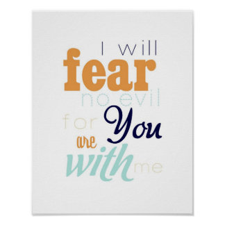 fear no evil - orange and navy blue poster
